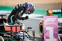 16th July 2021; Silverstone Circuit, Silverstone, Northamptonshire, England; Formula One British Grand Prix, and Qualifying;  HAMILTON Lewis (gbr), Mercedes AMG F1 GP W12 E Performance happy to take pole