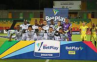 BUCARAMANGA- COLOMBIA,  08-02-2021. :Jugadores de La Equidad posan para una foto previo al partido por la fecha 5 entre  Atlético Bucaramanga y La Equidad como parte de la Liga BetPlay DIMAYOR 2021 jugado en el estadio Alfonso López de la ciudad de Bucaramanga. / Players of  La Equidad pose to a photo prior Match for the date 5 between  Atletico Bucaramanga and La Equidad as part of the BetPlay DIMAYOR League I 2021 played at  Alfonso Lopez stadium in Bucaramangac ity. Photo: VizzorImage / Jaime Moreno / Contribuidor