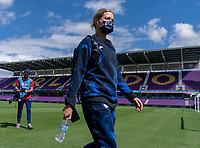 ORLANDO, FL - FEBRUARY 21: Abby Dahlkemper #7 of the USWNT walks into the stadium before a game between Brazil and USWNT at Exploria Stadium on February 21, 2021 in Orlando, Florida.