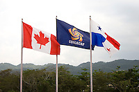 Flags of the participating nations fly over the stadium during the semifinals of the CONCACAF Men's Under 17 Championship at Catherine Hall Stadium in Montego Bay, Jamaica. Canada defeated Panama, 1-0.