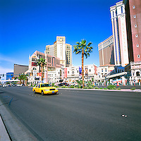 The Strip, (Las Vegas Boulevard), Las Vegas, Nevada, USA - Wynne Las Vegas & Encore Resort to the left, the Venetian Las Vegas Casino, Hotel & Resort to the right, and the Palazzo Las Vegas Resort Hotel behind