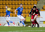St Johnstone v St Mirren…16.01.21   McDiarmid Park     SPFL<br />Craig Bryson's shot is blocked by Joe Shaughnessy<br />Picture by Graeme Hart.<br />Copyright Perthshire Picture Agency<br />Tel: 01738 623350  Mobile: 07990 594431