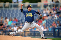 New Orleans Baby Cakes starting pitcher Scott Copeland (34) delivers a pitch during a game against the Nashville Sounds on April 30, 2017 at First Tennessee Park in Nashville, Tennessee.  The game was postponed due to inclement weather in the fourth inning.  (Mike Janes/Four Seam Images)