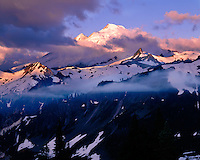 Sunrise light on Mt. Baker as viewed from Artist Point; Mt. Baker/Snoqualmie National Forest, WA