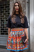 Milan,Italy - 19th june 2021 - Dolce & Gabbana fashion show for Milano fashion week Men's collection 18-22 june 2021 - girl with a colorful skirt