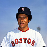 Boston Red Sox pitcher Diego Segui (36) poses for a photo during Spring Training circa 1974 at Chain of Lakes Park in Winter Haven, Florida.  (Brearley Collection/Four Seam Images)