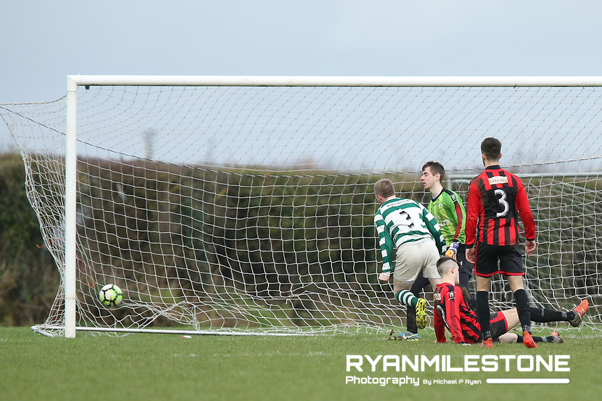 Nenagh Celtic's Danny Ryan scores the opening goal of the game during the Munster Junior Cup 4th Round at Tower Grounds, Thurles, Co Tipperary on Sunday 28th January 2018, Photo By: Michael P Ryan
