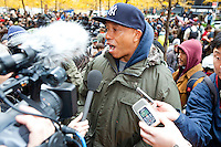 Russell Simmons makes an appearance in Zuccotti Park on November 17, 2011 in New York City in show of support for the Occupy Wall Street movement, celebrating its two month anniversary.
