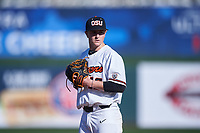 Oregon State University relief pitcher Reid Sebby (16) delivers a pitch during an NCAA game against the New Mexico Lobos at Surprise Stadium on February 14, 2020 in Surprise, Arizona. (Zachary Lucy / Four Seam Images)