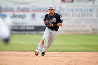 Lansing Lugnuts second baseman Bradley Jones (16) during a game against the Clinton LumberKings on May 9, 2017 at Ashford University Field in Clinton, Iowa.  Lansing defeated Clinton 11-6.  (Mike Janes/Four Seam Images)