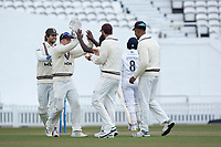 Surrey celebrate the wicket of Liam Dawson, LBW Kemar Roach during Surrey CCC vs Hampshire CCC, LV Insurance County Championship Group 2 Cricket at the Kia Oval on 1st May 2021
