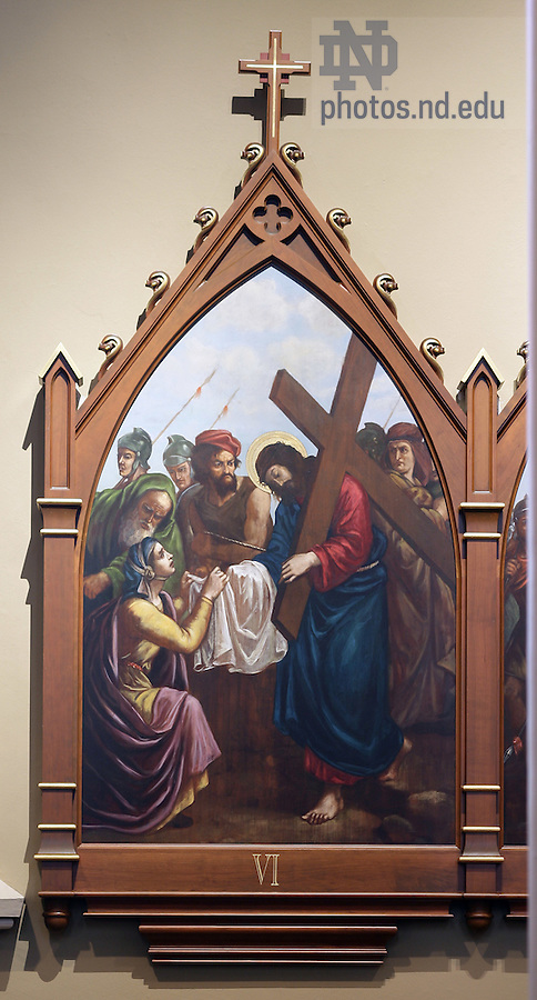 Stations of the Cross in the Basilica of the Sacred Heart.  Station 6...Photo by Matt Cashore..