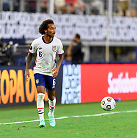 DALLAS, TX - JULY 25: Gianluca Busio #6 of the United States looks to pass the ball during a game between Jamaica and USMNT at AT&T Stadium on July 25, 2021 in Dallas, Texas.