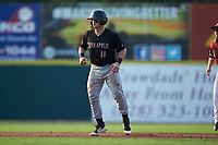 Evan Skoug (11) of the Kannapolis Intimidators takes his lead off of second base against the Hickory Crawdads at L.P. Frans Stadium on July 20, 2018 in Hickory, North Carolina. The Crawdads defeated the Intimidators 4-1. (Brian Westerholt/Four Seam Images)
