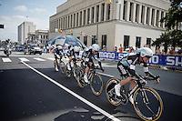 Team Etixx-Quickstep (BEL) speeding towards the finish<br /> <br /> Elite Men's Team Time Trial<br /> UCI Road World Championships Richmond 2015 / USA