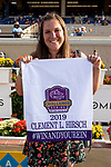 """DEL MAR, CA  JULY 28: #4 Ollie's Candy, ridden by Kent Desormeaux, connection holds up the Breeders' Cup Saddle towel after winning the Clement L Hirsch Stakes (Grade 1) a Breeders' Cup """"Win and You're In"""" Distaff Division (Photo by Casey Phillips/Eclipse Sportswire/CSM)"""