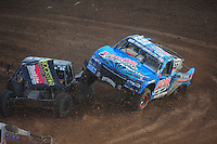 Dec. 11, 2011; Chandler, AZ, USA;  LOORRS pro 2 driver Robby Woods (99) and Todd LeDuc (4) get together during the Lucas Oil Challenge Cup at Firebird International Raceway. Mandatory Credit: Mark J. Rebilas-