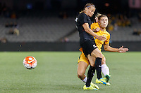 June 7, 2016: RIA PERCIVAL (2) of New Zealand and STEPHANIE CATLEY (7) of Australia collide during an international friendly match between the Australian Matildas and the New Zealand Football Ferns as part of the teams' preparation for the Rio Olympic Games at Etihad Stadium, Melbourne. Photo Sydney Low