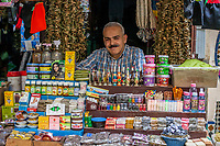 Fes, Morocco.  Vendor Selling Variety of Body Care Products in the Medina, Fes El-Bali.