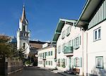 Austria, Styria, Schladming: town entre with evangelic church Peter and Paul | Oesterreich, Steiermark, Schladming: Ortszentrum mit der evangelischen Peter-und-Paul-Kirche