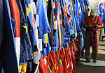 16 August 2008: Walter Arce works the Silks Room at Saratoga Race Course in Saratoga Springs, New York.  As a valet he has been pulling racing silks for almost 11 years.