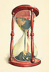 Conceptual illustration of globe in hourglass over colored background depicting environmental damage