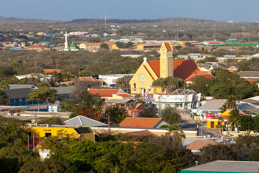 Kralendijk, Bonaire, Leeward Antilles.  St. Bernardo Catholic Church in Foreground; Al-Houda Mosque in Background.