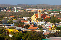 Kralendijk, Bonaire, Leeward Antilles.  St. Bernardo Catholic Church in Foreground; Al-Houda Mosque in Background.