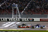 NASCAR Camping World Truck Series<br /> Las Vegas 350<br /> Las Vegas Motor Speedway, Las Vegas, NV USA<br /> Saturday 30 September 2017<br /> Ben Rhodes, Safelite Auto Glass Toyota Tundra takes the checkered flag<br /> World Copyright: Russell LaBounty<br /> LAT Images