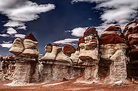 Red and white hoodoos in Blue Canyon on the Hopi Reservation in northeastern Arizona