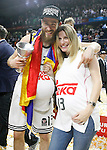 Real Madrid's Sergio Rodriguez celebrates with his wife the victory in the Euroleague Final Match. May 15,2015. (ALTERPHOTOS/Acero)