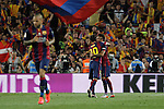 Barcelona´s Neymar Jr celebrates a goal with Leo Messi during 2014-15 Copa del Rey final match between Barcelona and Athletic de Bilbao at Camp Nou stadium in Barcelona, Spain. May 30, 2015. (ALTERPHOTOS/Victor Blanco)