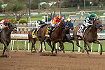 ARCADIA, CA  MARCH 7: #2 Flagstaff, ridden by Victor Espinoza, in the stretch of the San Carlos Stakes (Grade ll) on March 7, 2020, at Santa Anita Park in Arcadia, CA.(Photo by Casey Phillips/Eclipse Sportswire/CSM