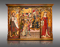 Gothic altarpiece depicting left to right - the Archangel Gabriel, the martyrdom of Santa Eulalia and St Caterina, by Bernat Martorell, circa 1442-1445, Temperal and gold leaf on wood.  National Museum of Catalan Art, Barcelona, Spain, inv no: MNAC  1442. Against a light grey background.