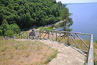 "Descent to the water reservoir in the old Russian village. Situated in Russian National Park ""Samara Luka""."