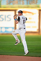 Quad Cities River Bandits second baseman Bobby Wernes (13) throws to first during a game against the Bowling Green Hot Rods on July 24, 2016 at Modern Woodmen Park in Davenport, Iowa.  Quad Cities defeated Bowling Green 6-5.  (Mike Janes/Four Seam Images)