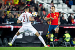 Norway's Bjorn Johnsen and Spain's Sergio Canales  during the qualifying match for Euro 2020 on 23th March, 2019 in Valencia, Spain. (ALTERPHOTOS/Alconada)