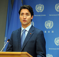 NEW YORK, NY - SEPTEMBER 20: Canadian Prime Minister Justin Trudeau speaks at a news conference on September 20, 2016 in New York City. Presidents, prime ministers, monarchs and ministers are gathering this week for the United Nation's General Assembly's annual ministerial meeting.<br /> <br /> People:  Canadian Prime Minister Justin Trudeau