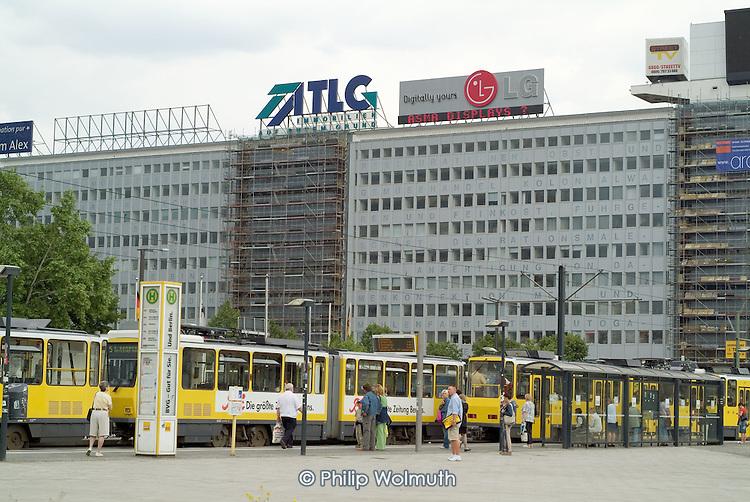 Advertising hoardings on top of buildings in Alexanderplatz in former East Berlin