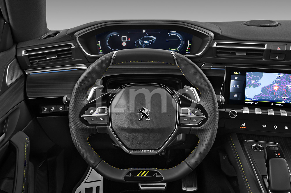Car pictures of steering wheel view of a 2021 Peugeot 508-PSE PSE-PHEV 5 Door Hatchback Steering Wheel