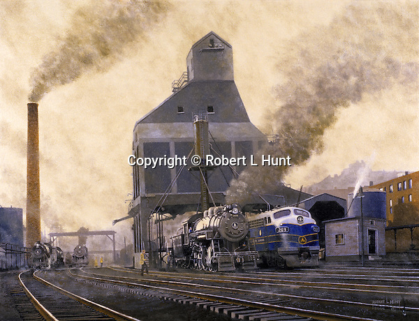 """Baltimore and Ohio Railroad coaling dock and sanding tower at the locomotive maintenance yard in Grafton, WV, circa 1950. Oil on canvas, 20"""" x 26""""."""