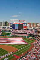 6 April 2015: A pair of US Airforce F-18s fly over the crowd during opening ceremonies prior to the Washington Nationals Season Opening Game against the New York Mets at Nationals Park in Washington, DC. The Mets rallied to defeat the Nationals 3-1 in their first meeting of the 2015 MLB season. Mandatory Credit: Ed Wolfstein Photo *** RAW (NEF) Image File Available ***