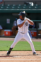 Detroit Tigers Riley Greene (13) bats during a Florida Instructional League game against the Toronto Blue Jays on October 19, 2020 at Joker Marchant Stadium in Lakeland, Florida.  (Mike Janes/Four Seam Images)