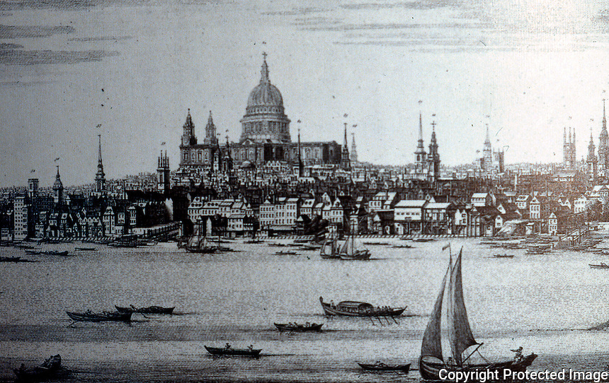 London: Historical St. Paul's from Southwark, 1746. The Wharves above London Bridge mainly handled grain, fruit, timber and coal.  Reference only.