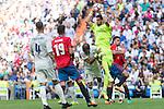 Real Madrid's Kiko Casilla Pepe and Sergio Ramos Club Atletico Osasuna's Emmanuel Riviere during the match of La Liga between Real Madrid and Club Atletico Osasuna at Santiago Bernabeu Estadium in Madrid. September 10, 2016. (ALTERPHOTOS/Rodrigo Jimenez)