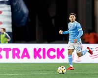 FOXBOROUGH, MA - SEPTEMBER 11: Nicolas Acevedo #26 of New York City FC brings the ball forward during a game between New York City FC and New England Revolution at Gillette Stadium on September 11, 2021 in Foxborough, Massachusetts.