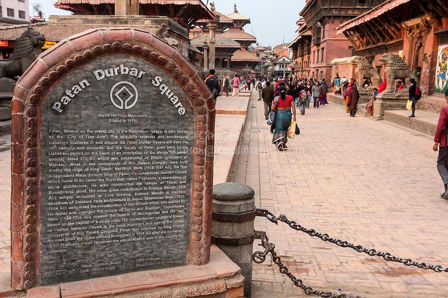 Nepal, Patan.  Durbar Square Sign, Noting History and World Heritage Status.