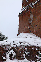 Rome, Villa Gordiani:  A view of the ancient Tor de' Schiavi (the Tower of the Slaves), in villa Gordiani, on the Prenestina road.  This is a peculiar view, since it is taken after a snowing night and the ruins are covered by snow (February 2012).