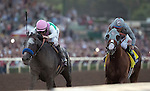 ARCADIA, CA - NOVEMBER 5: Arrogate #10, ridden by Mike Smith, wins the the Breeders' Cup Classic ahead of California Chrome #4, ridden by Victor Espinoza, during day two of the 2016 Breeders' Cup World Championships at Santa Anita Park on November 5, 2016 in Arcadia, California. (Photo by Alex Evers/Eclipse Sportswire/Breeders Cup)