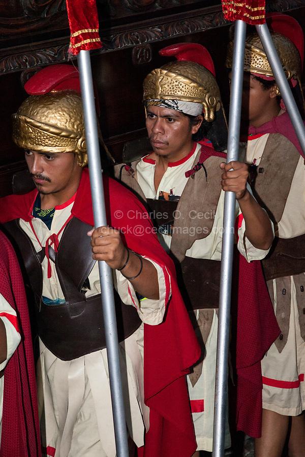 Antigua, Guatemala.  Historic Re-enactors as Roman Centurions, Semana Santa Procession.